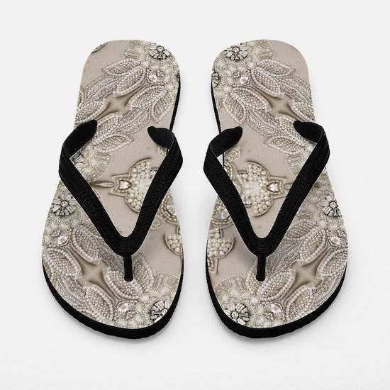 glamorous girly Rhinestone lace pearl  Flip Flops