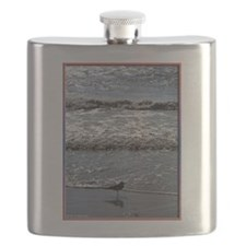 Seagull, waves, photo Flask