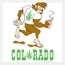 Colorado Bigfoot Pot Leaf Invitations