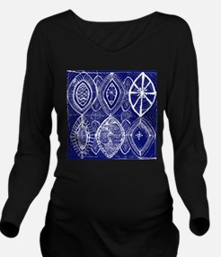 Indigo Blue Rustic Tangle Art Long Sleeve Maternit
