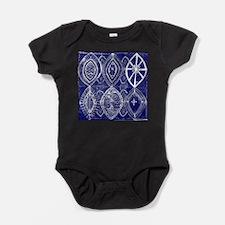 Indigo Blue Rustic Tangle Art Baby Bodysuit