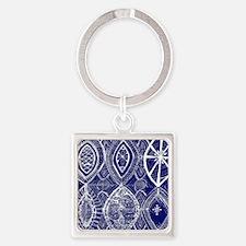 Indigo Blue Rustic Tangle Art Keychains