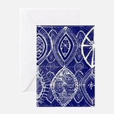 Indigo Blue Rustic Tangle Art Greeting Cards