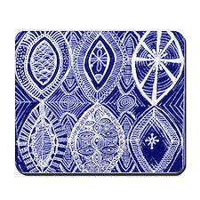 Indigo Blue Rustic Tangle Art Mousepad