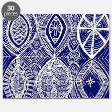 Indigo Blue Rustic Tangle Art Puzzle
