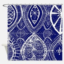 Indigo Blue Rustic Tangle Art Shower Curtain