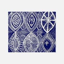 Indigo Blue Rustic Tangle Art Throw Blanket