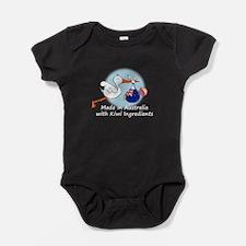 stork baby NZ aus white.png Baby Bodysuit