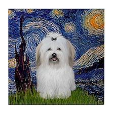 Starry Night Coton de Tulear Tile Coaster