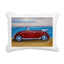The red VW bug at beach Rectangular Canvas Pillow