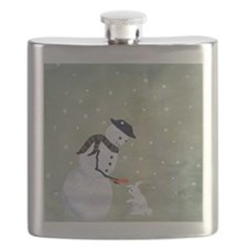 snowman sharing with bunny Flask