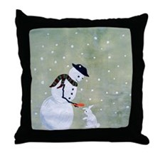 snowman sharing with bunny Throw Pillow