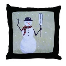 snowman sharing peace Throw Pillow