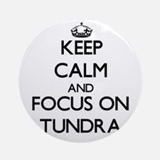 Keep Calm by focusing on Tundra Ornament (Round)