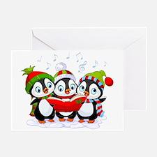 Caroling Christmas Penguins Card Greeting Cards