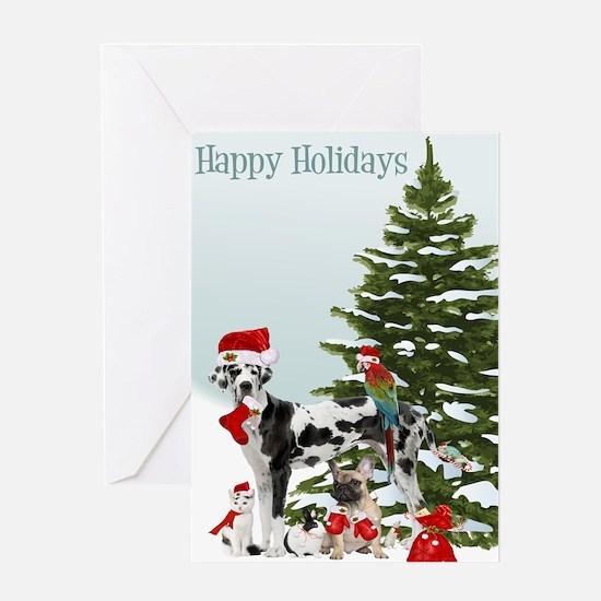 Santa Pets Christmas Card Greeting Cards