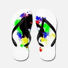 Graffiti Paint Splotches Skateboarder Flip Flops
