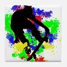 Graffiti Paint Splotches Skateboarder Tile Coaster