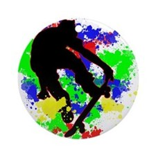 Graffiti Paint Splotches Skateboa Ornament (Round)