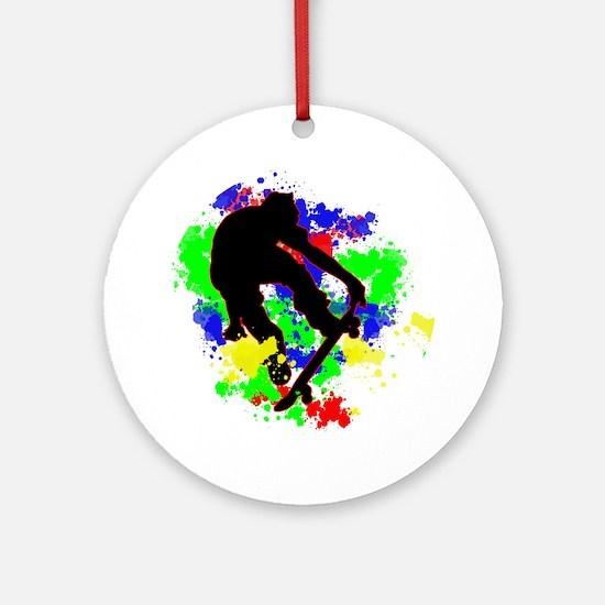 Graffiti Paint Splotches Skateboa Ornament (Round)