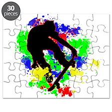 Graffiti Paint Splotches Skateboarder Puzzle