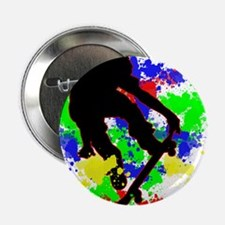 """Graffiti Paint Splotches Skateboarder 2.25"""" Button"""