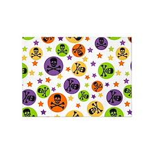 Halloween Skulls and Polka Dots 5'x7'Area Rug