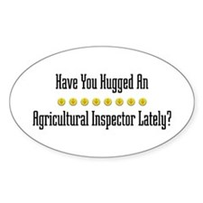 Hugged Agricultural Inspector Oval Decal