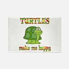 Turtles Make Me Happy Rectangle Magnet (10 pack)