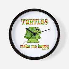 Turtles Make Me Happy Wall Clock