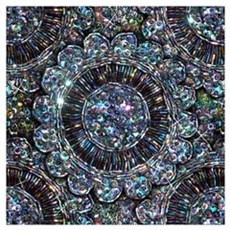 Beaded Sequin Flowers Photo Wall Art Poster