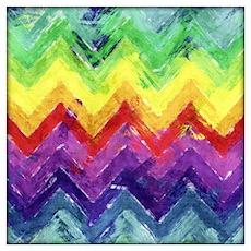 Geometric Zigzag Watercolor Wall Art Poster