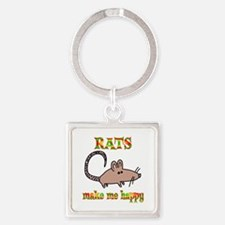Rats Make Me Happy Square Keychain