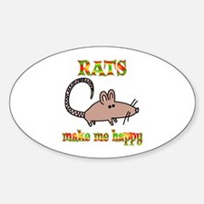 Rats Make Me Happy Sticker (Oval)