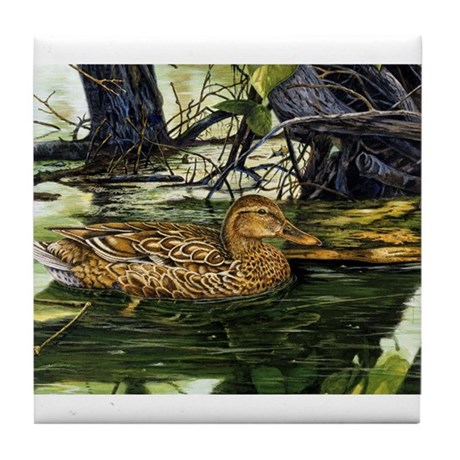 Mallard on the River Tile Coaster