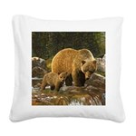 Grizzly Bear and Cub Square Canvas Pillow