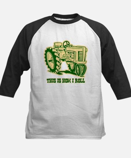This Is How I Roll Tractor GRN Kids Baseball Jerse