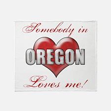 Somebody In Oregon Loves Me Throw Blanket