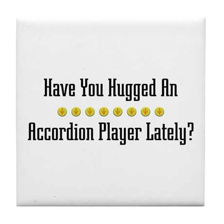 Hugged Accordion Player Tile Coaster