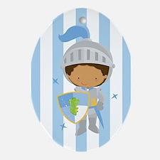 Knight Boy Blue Striped Ornament (Oval)