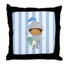 Knight Boy Blue Striped Throw Pillow
