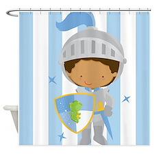 Knight Boy Blue Striped Shower Curtain