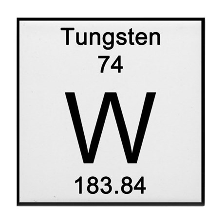 Periodic table tungsten tile coaster by science lady - Tungsten symbol periodic table ...