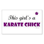 This Girl's A Karate Chick (Grape) Sticker (Rectan