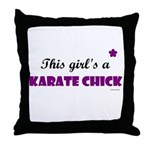This Girl's A Karate Chick (Grape) Throw Pillow