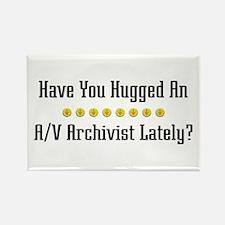 Hugged A/V Archivist Rectangle Magnet