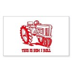 This Is How I Roll Tractor RED Sticker (Rectangula