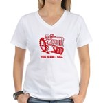 This Is How I Roll Tractor RED Women's V-Neck T-Sh