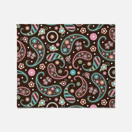 Paisley Print Retro Throw Blanket