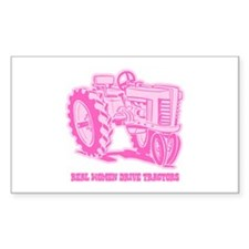 Real Women Drive Tractors Rectangle Decal